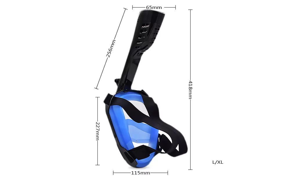 Full Face Snorkel Mask with Panoramic View Anti-Fog Anti-Leak Anti-vertigo Design 180 Degrees Viewing field of vision