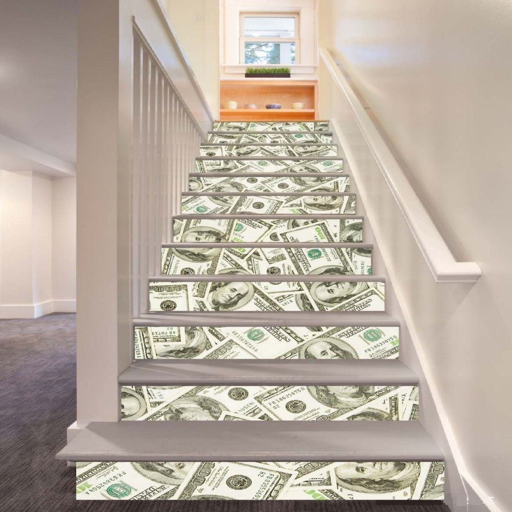 USD Pattern Style Stair Sticker Wall Decor LTT030
