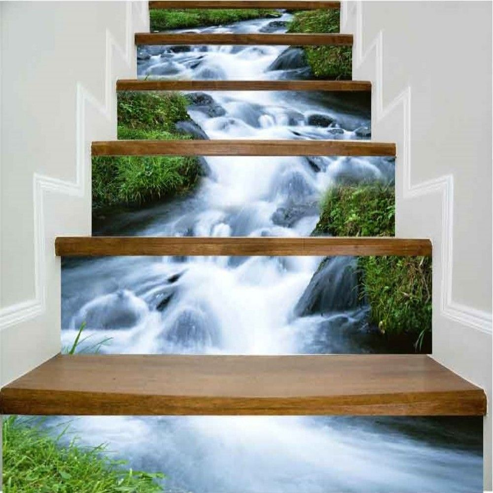 Rush of Water Pattern Style Stair Sticker Wall Decor LTT033