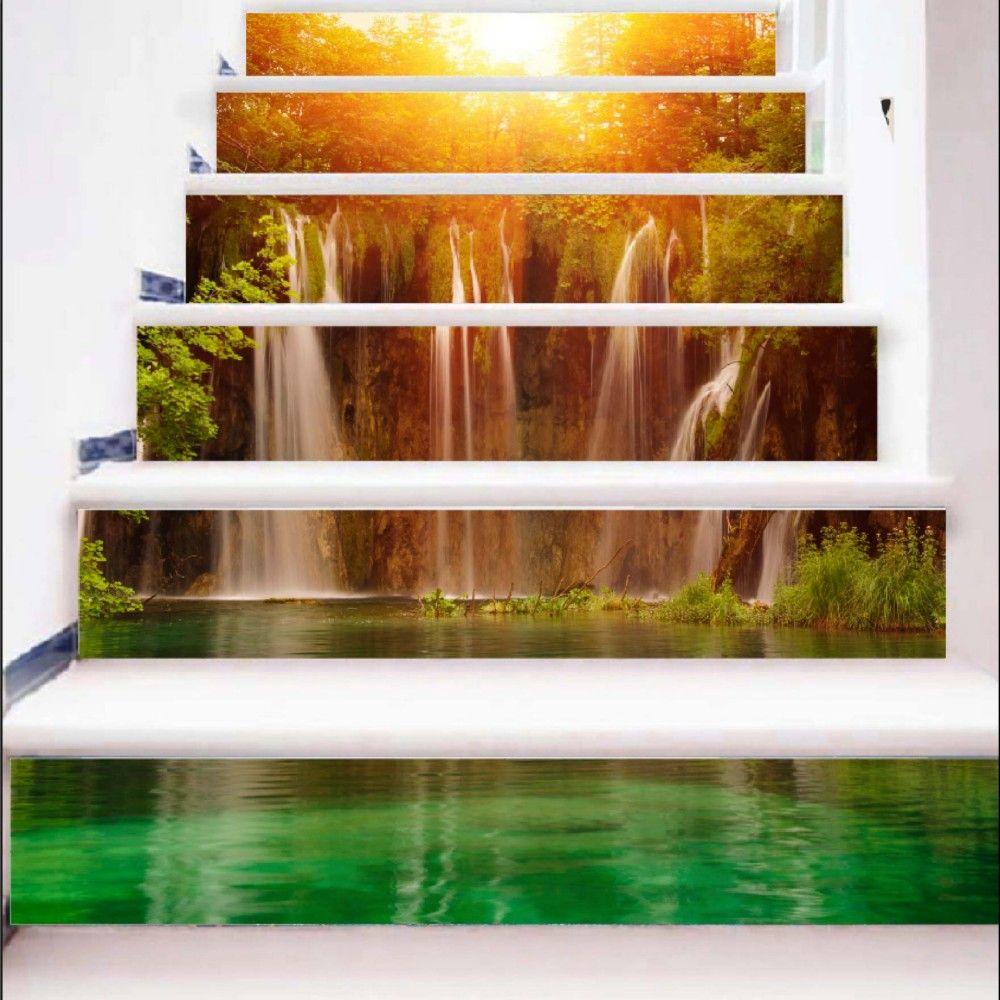 Sunshine Lake Waterfall Pattern Style Stair Sticker Wall Decor LTT035