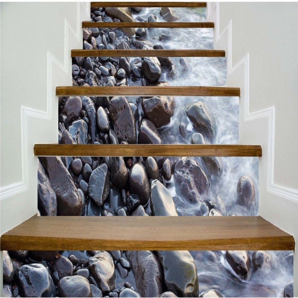 Gravel Pattern By The River Pattern Style Stair Sticker Wall Decor LTT034