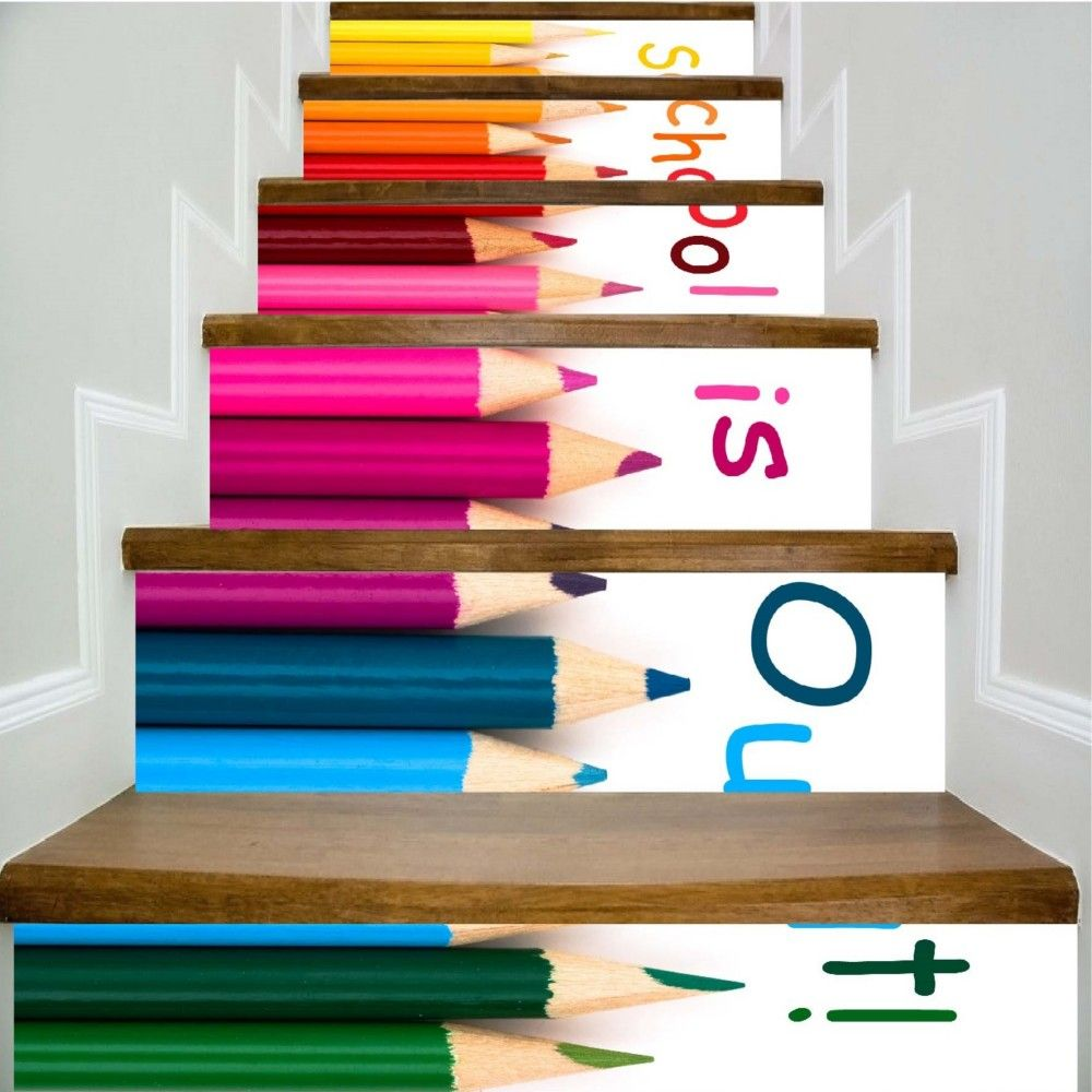 School Is Out Color Crayons Pattern Style Stair Sticker Wall Decor LTT036