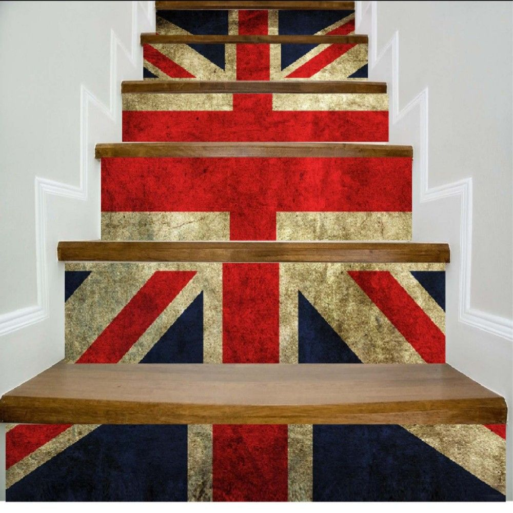 Colored Flags Pattern Style Stair Sticker Wall Decor LTT039