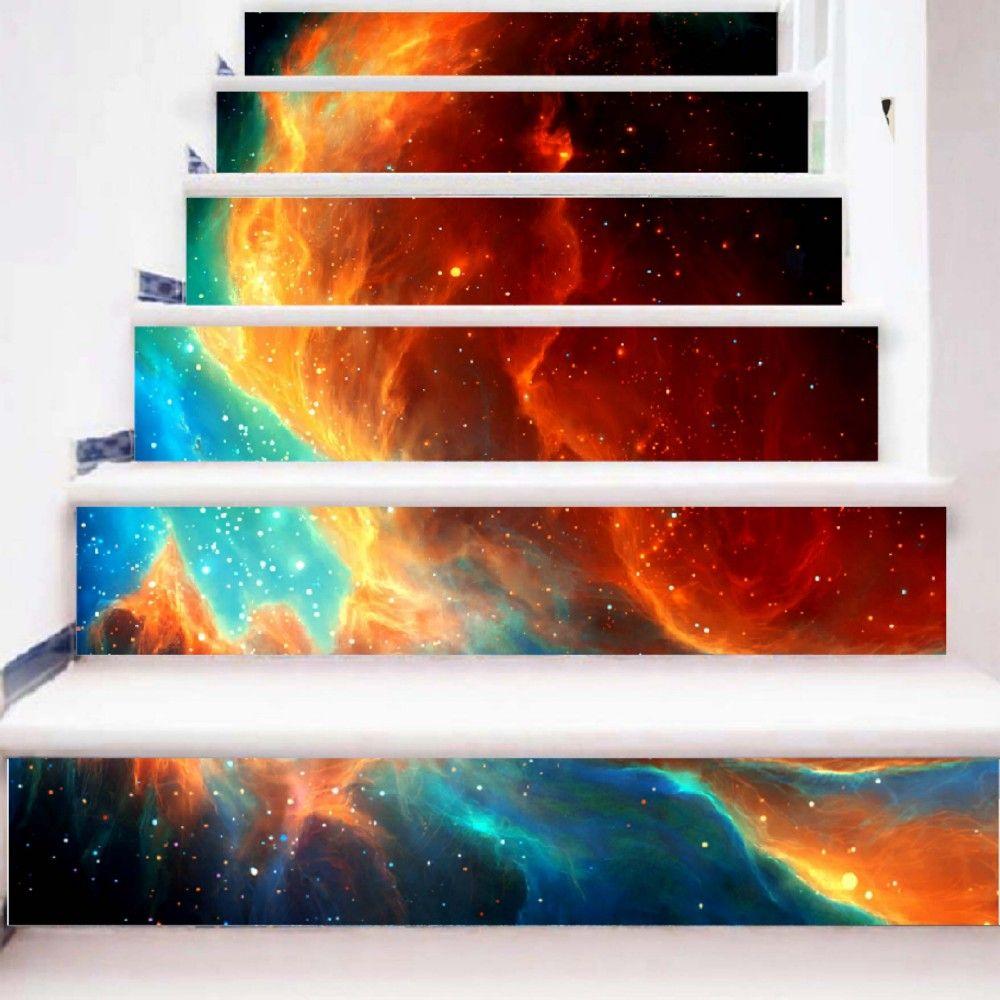 Beautiful Dream Flame Pattern Style Stair Sticker Wall Decor LTT040