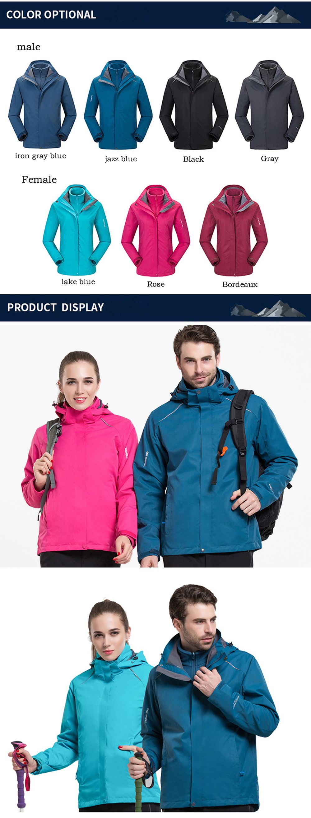 Autumn and Winter Outdoor Jackets Thickened Mountaineering Suits and Three Sets of Windproof Warm Andes Men