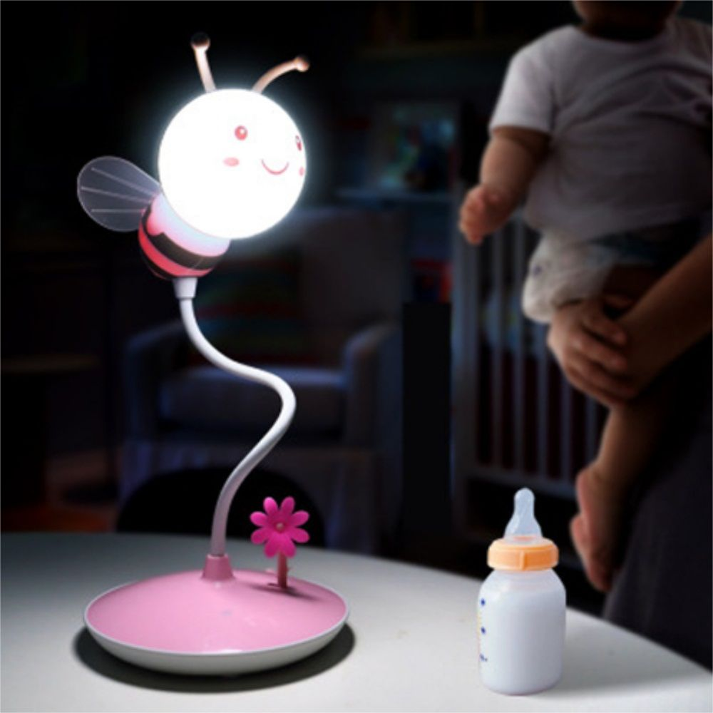 Cartoon Bee LED Lamp USB Charging Touch Dimming Pink White Light