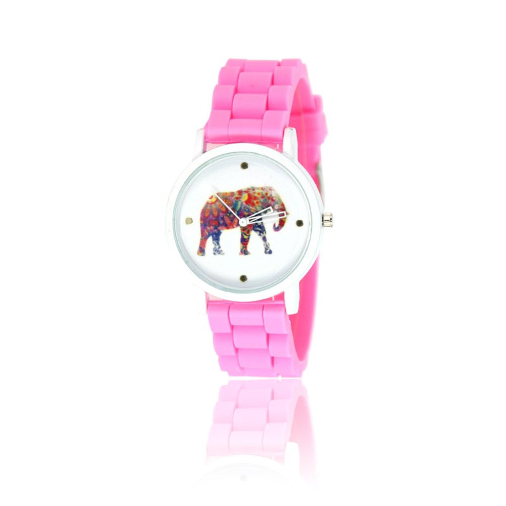 New Fashion Women'S Watch Vintage Style Silicone Strap Color Elephant Shades Popular Watch with Gift Box