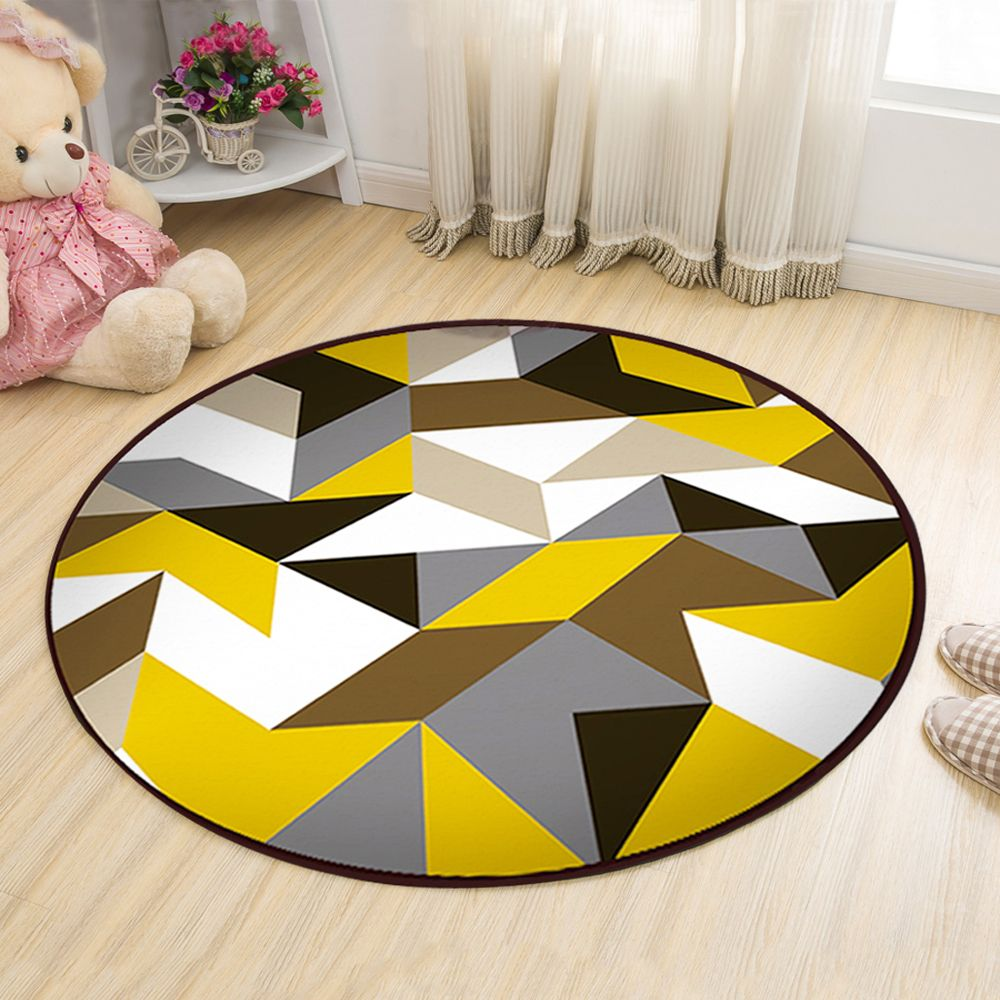 Floor Mat Modern Style Geometry Pattern Multi Colored Round Decorative Mat1