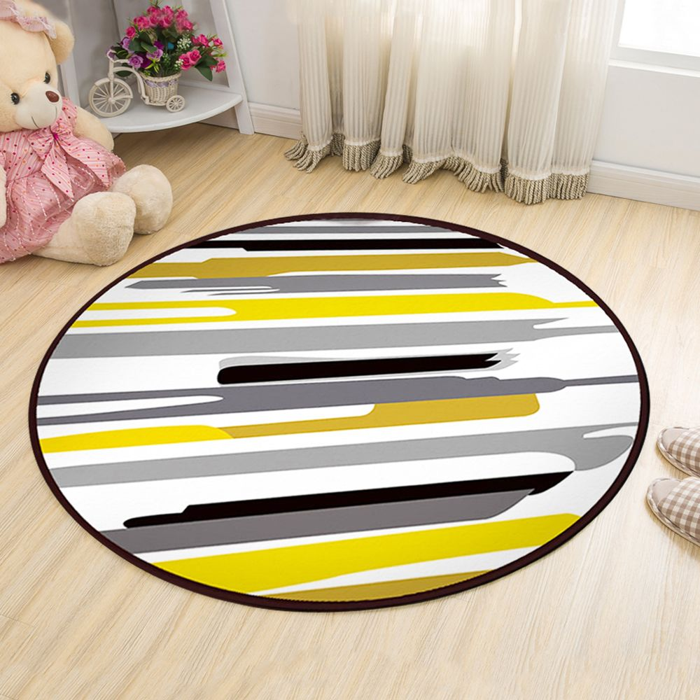 Floor Mat Modern Style Lines Pattern Multi Colored Round Decorative Mat1