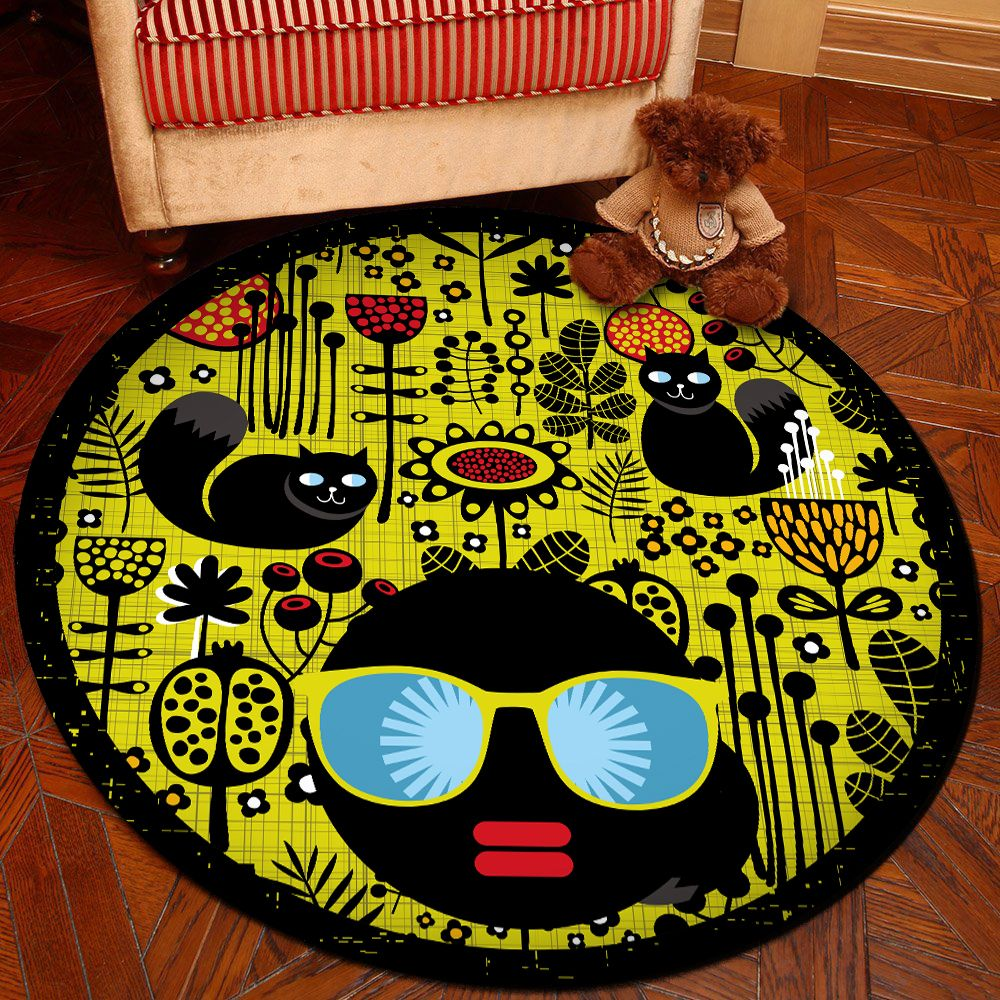 Floor Mat Modern Style Faces Pattern Yellow Black Round Decorative Mat1