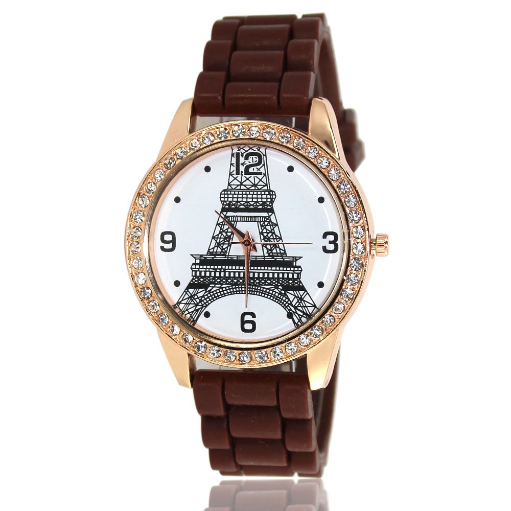 New Fashion Women'S Watch Retro Style Simple Minimalist Silicone Bracelet with Tower Diamond Watch with Gift Box