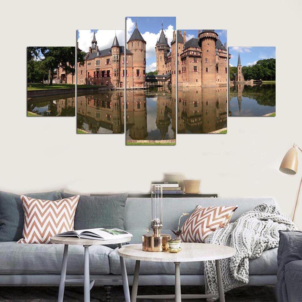 YSDAFEN 5 Panel Modern De Haar Castle Hd Art Print Canvas Art for Living Room Wall Picture