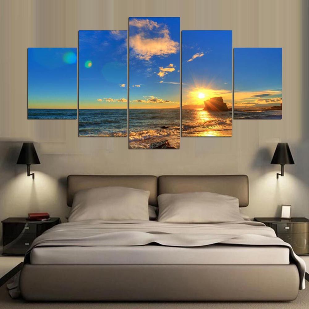 YSDAFEN 5 Panel Modern Beach Scenes Canvas Print Art for Living Room Wall Picture