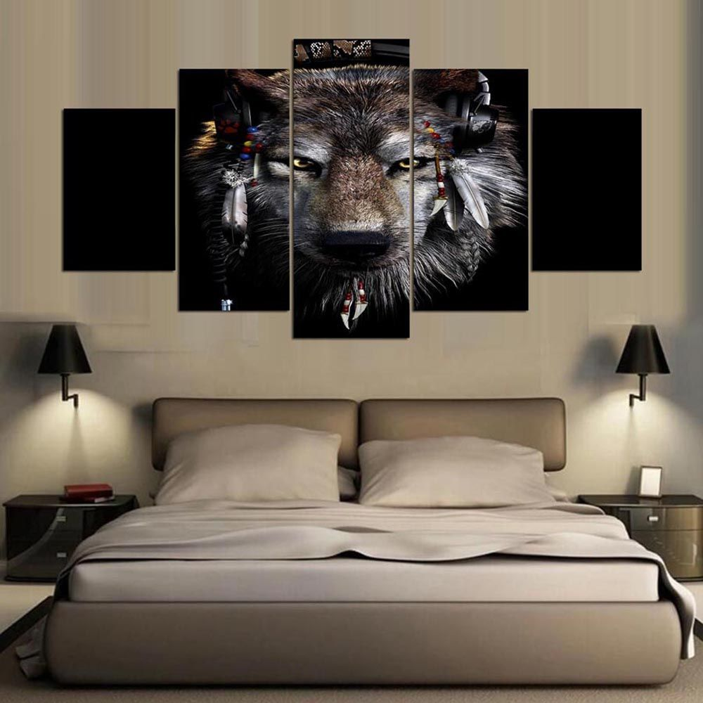 YSDAFEN 5 Panel Modern Awesome Wolf Canvas Art for Living Room Wall Picture