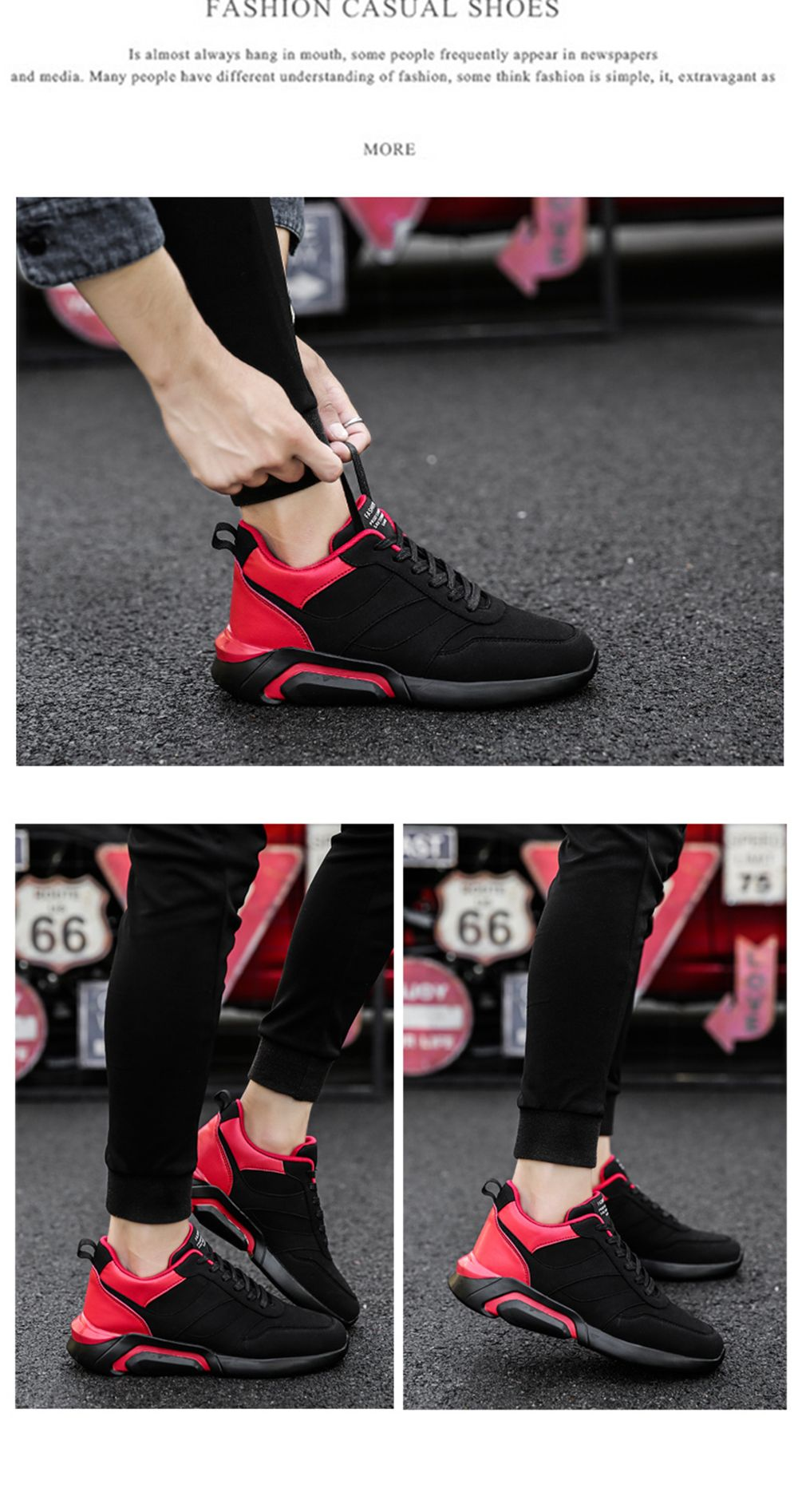 Men Casual Fashion Breathable Lace up Athletic Shoes