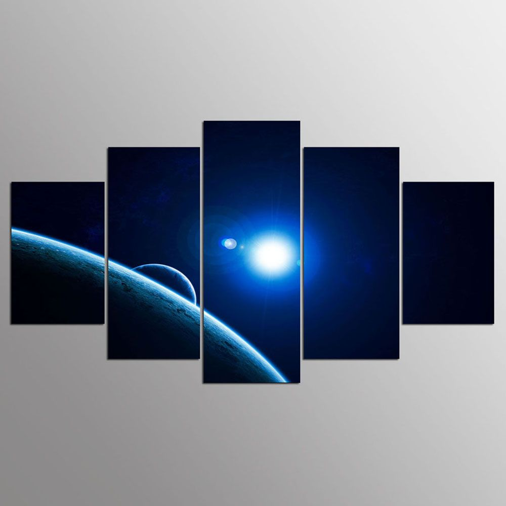 YSDAFEN 5 Panel Modern Red Dwarf Star of Galaxy Canvas Art for Living Room Wall Picture