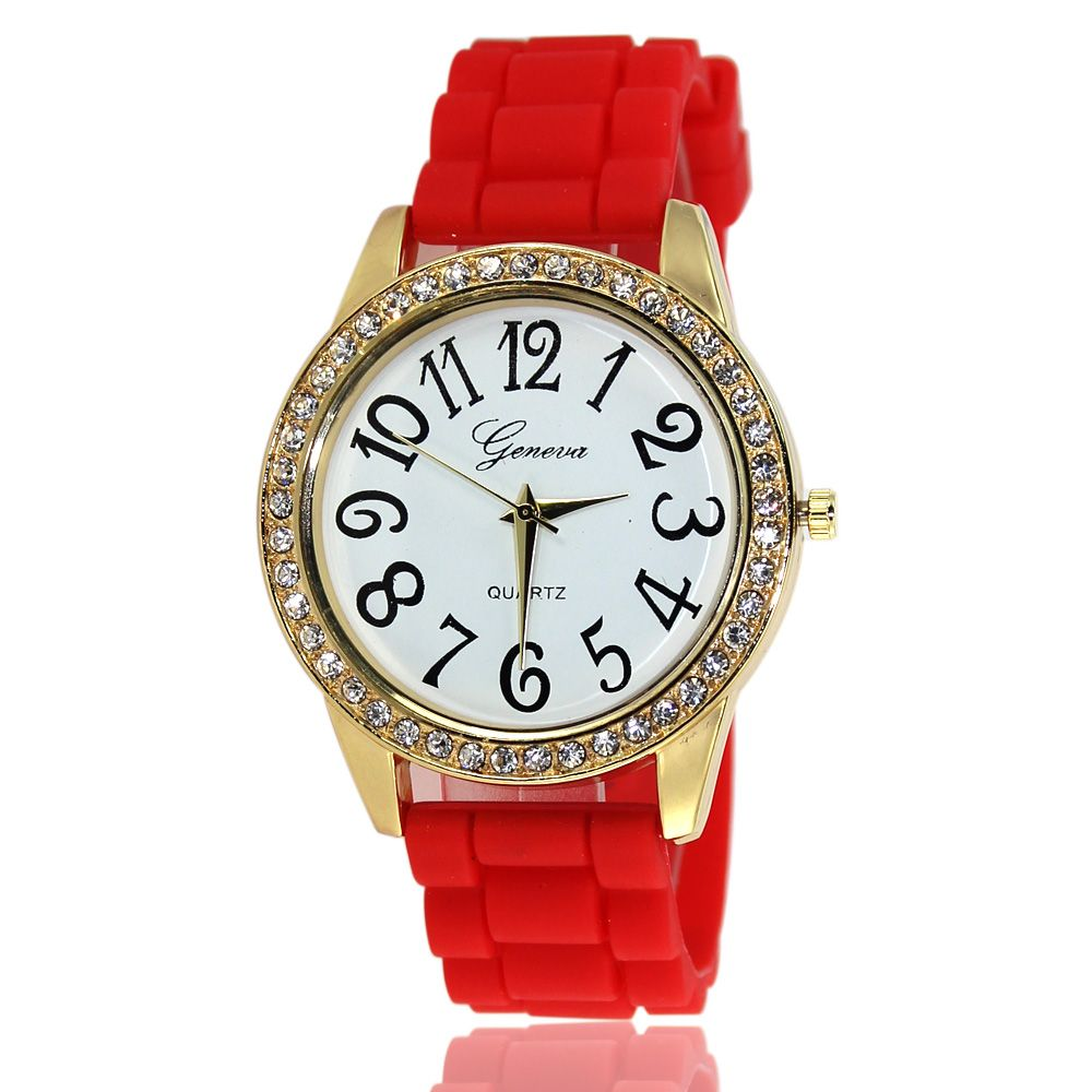New Fashion Ladies Watch Classic Pop Simple Style Silicone Strap Personalized Diamond Watch with Gift Box