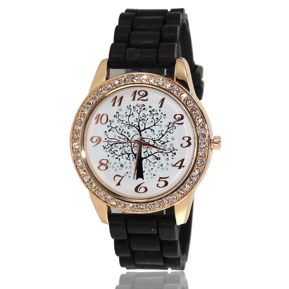 Fashionable Women'S Watch Classic Minimalist Style Silicone Strap Wishing Tree Shades Diamond Watch with Gift Box