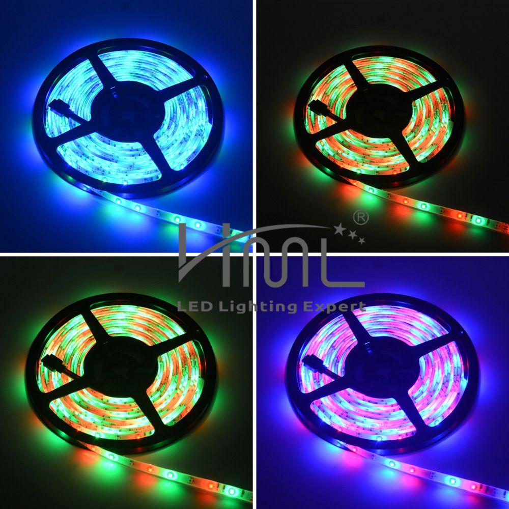 HML 2pcs 5M 24W Waterproof RGB 2835 SMD 300 LED Strip Light with RF 10Keys Remote Control+ Adapter(EU Plug)