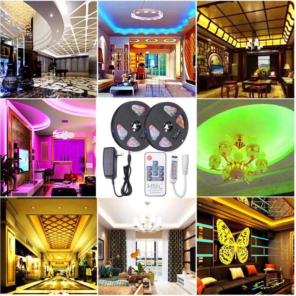 HML 2pcs 5M Waterproof 24W RGB 2835 SMD 300 LED Strip Light with RF 10 Keys Remote Control+ DC Adapter(US Plug)