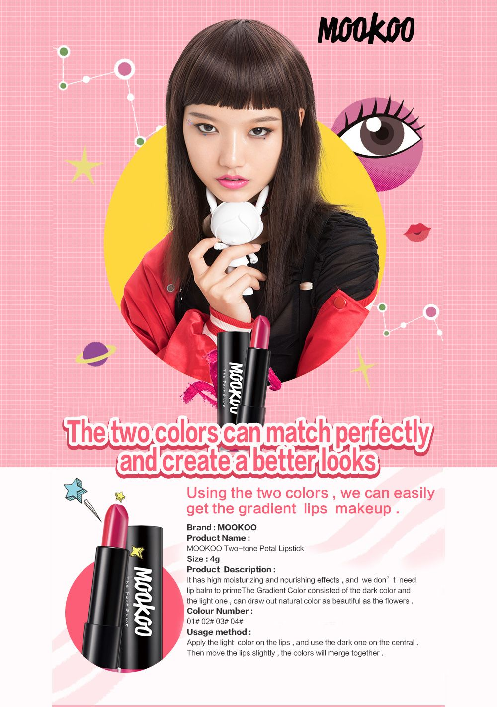 MOOKOO Two-Tone Petal Lipstick Long Lasting Moisturize and Not Easily To Fade