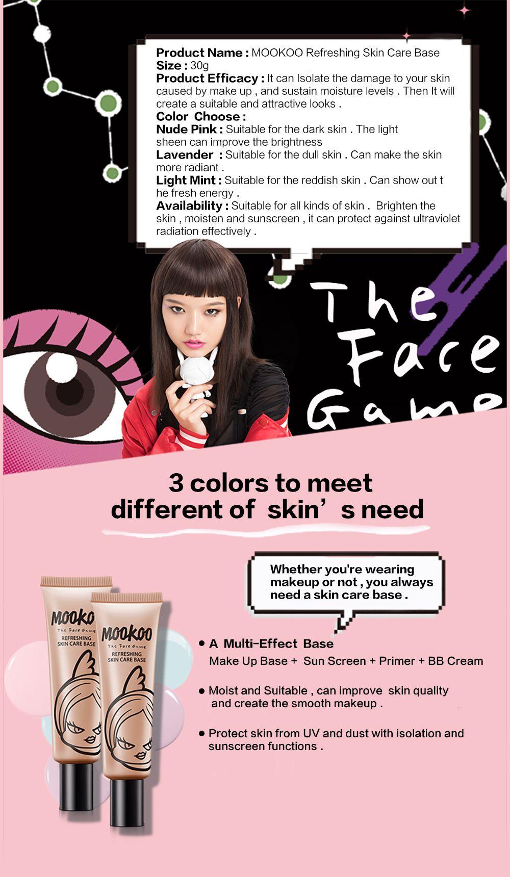 MOOKOO Refreshing Skin Care Base Make Up Base and Long Lasting Moisturize