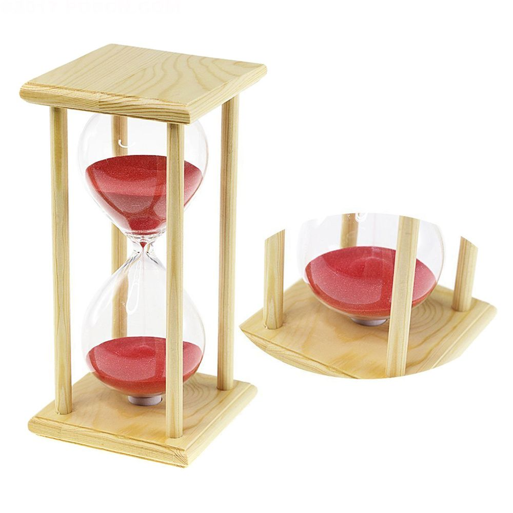 POSCN 60 Minutes Durable Glass Hourglasses Crude Wood Sand Timer for Time Management LP9007-0006