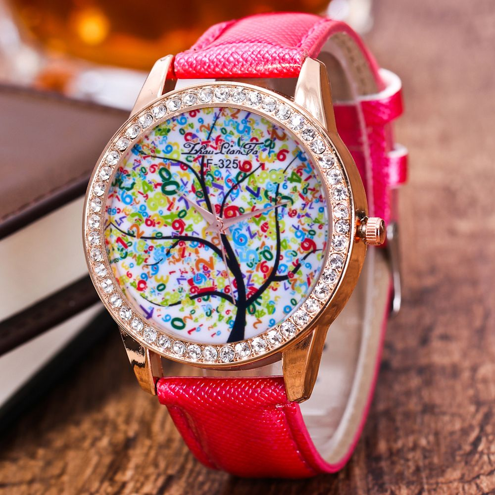 ZhouLianFa New Trend Crystal Pattern Rose Gold Diamond Business and Leisure Landscape Tree Quartz Watch with Gift Box
