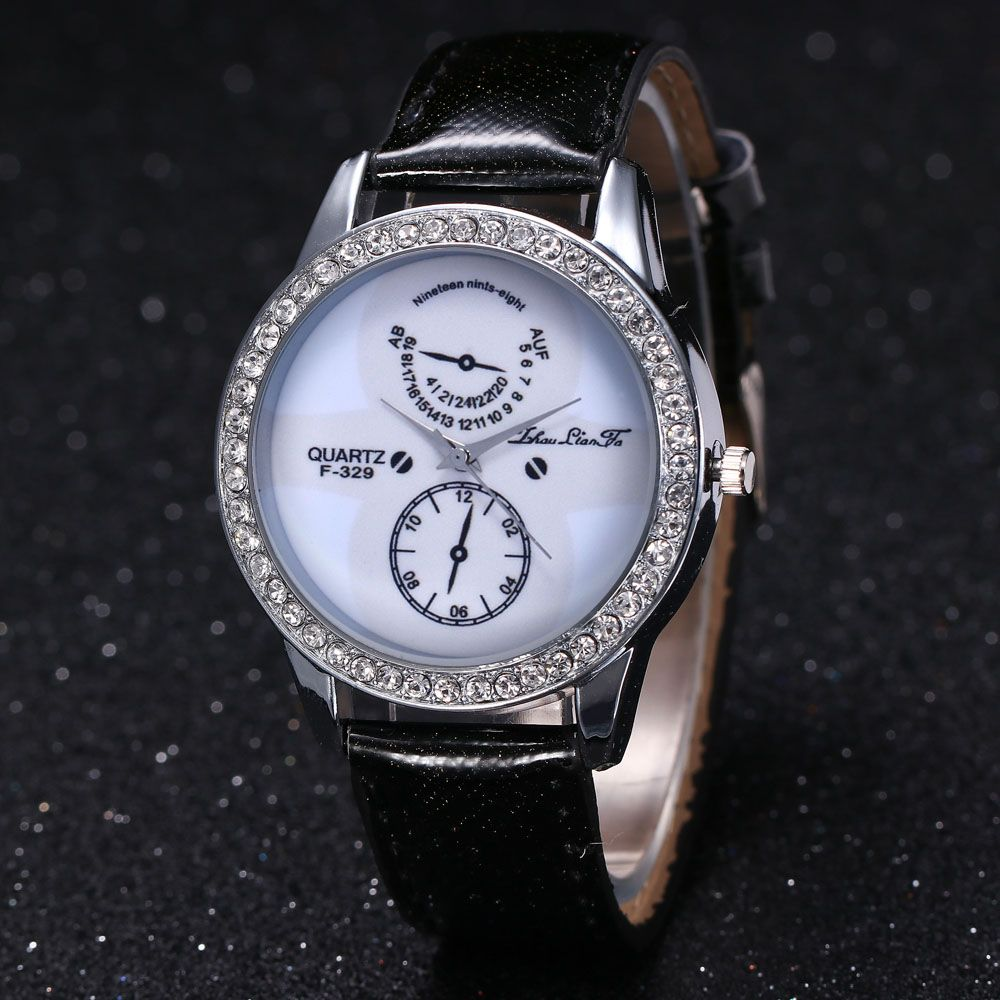 ZhouLianFa New Trend Crystal Pattern Silver Diamond Business Casual White Quartz Eyes with Gift Box