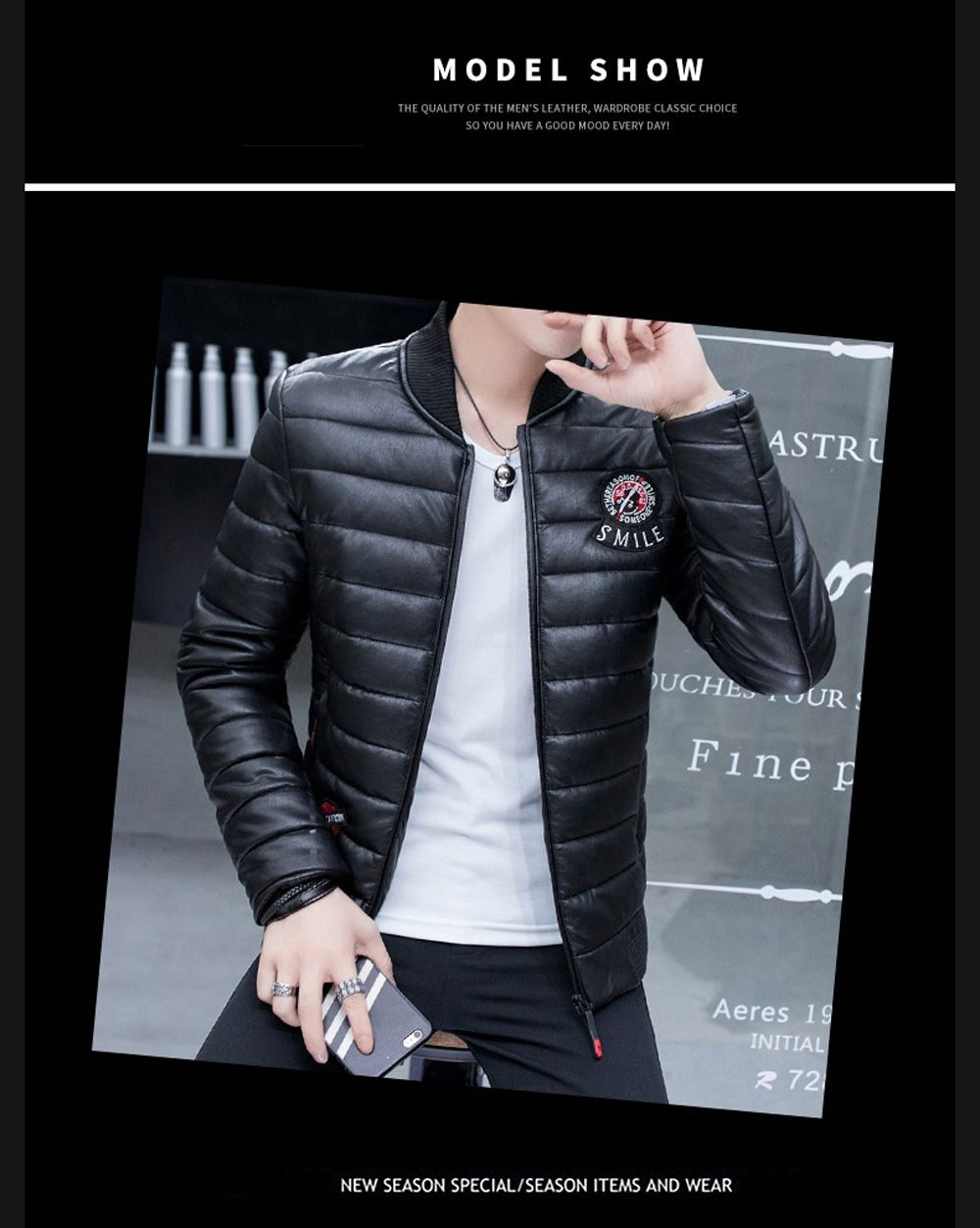 Men's Stylish Slim Fit  Leather Jacket