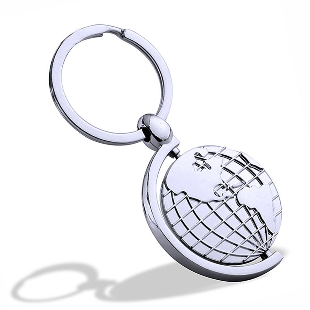 Rotary Metal Globe Key chains Creative Personality Gift  Key Ring Pendant