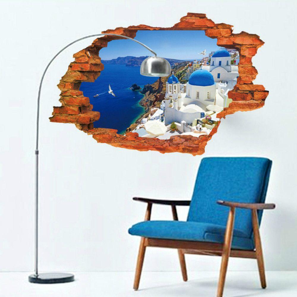 3D Wall Stickers Aegean Sealandscape Wallpaper Beach Murals Living Room Backgroud   Decor