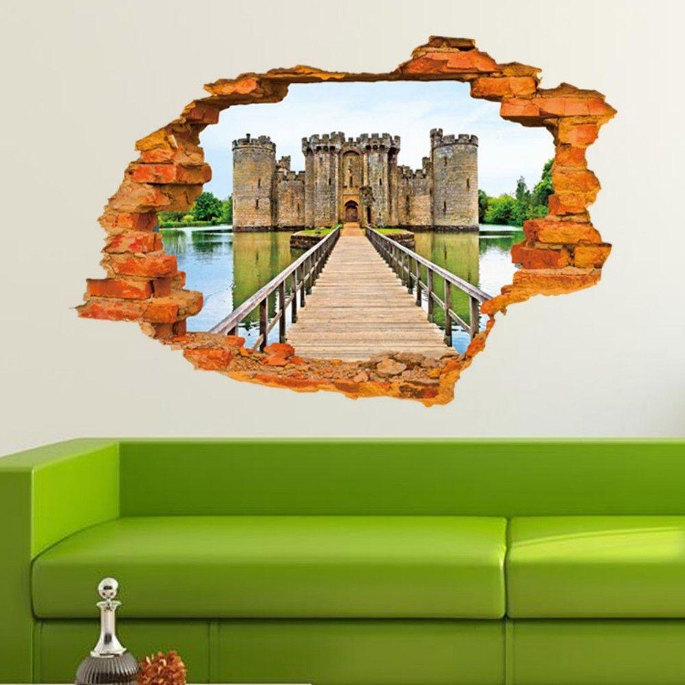 3D Ancient Castle Building PVC Wall Stickers Wooden Bridge Full Color Decals Home Decor