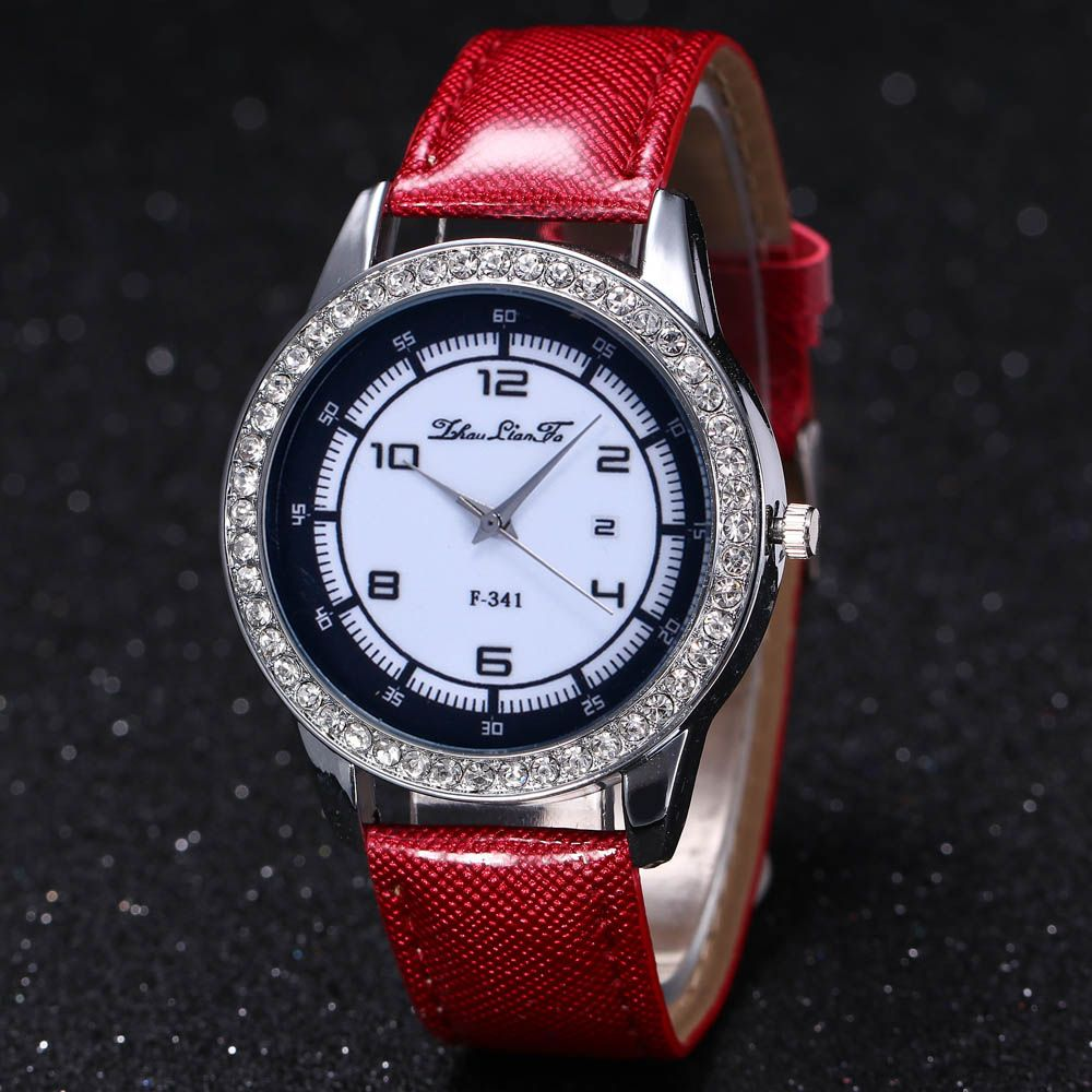 ZhouLianFa New Trend of Diamond Crystal Grain Business Casual Black and White Quartz Watch with Gift Box