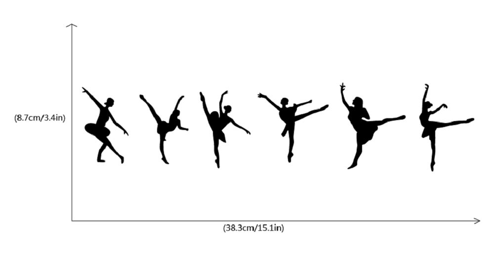 Set Of 6 Ballet Switch Stickers Dancer Silhouette Vinyl Wall Sticker Home Decor