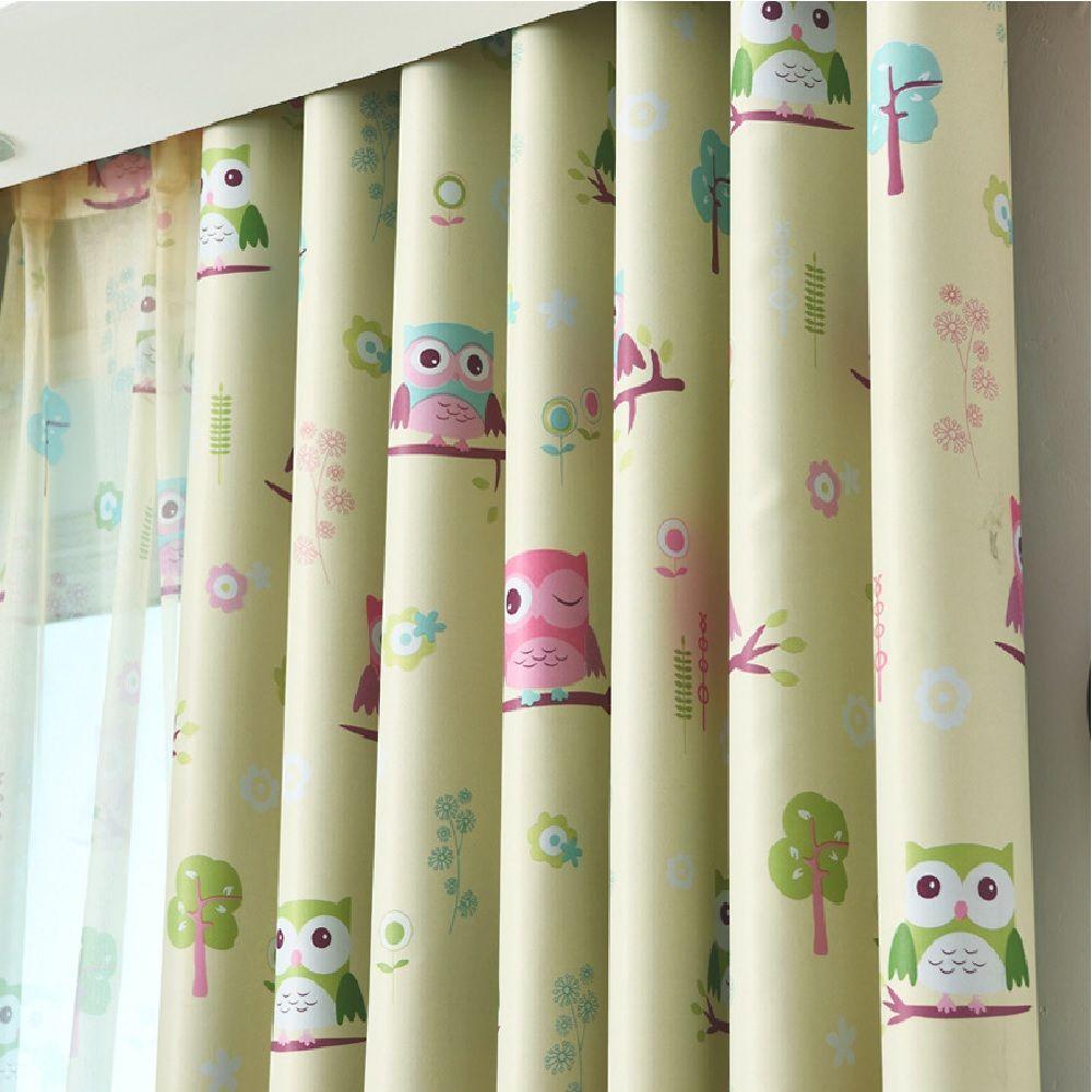 Cartoon Owl Shaded Curtain