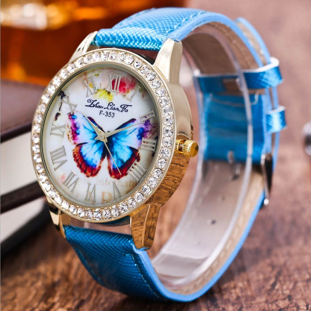 ZhouLianFa New Trend Diamond Crystal Gold Business Casual Butterfly Stone Table with Gift Box