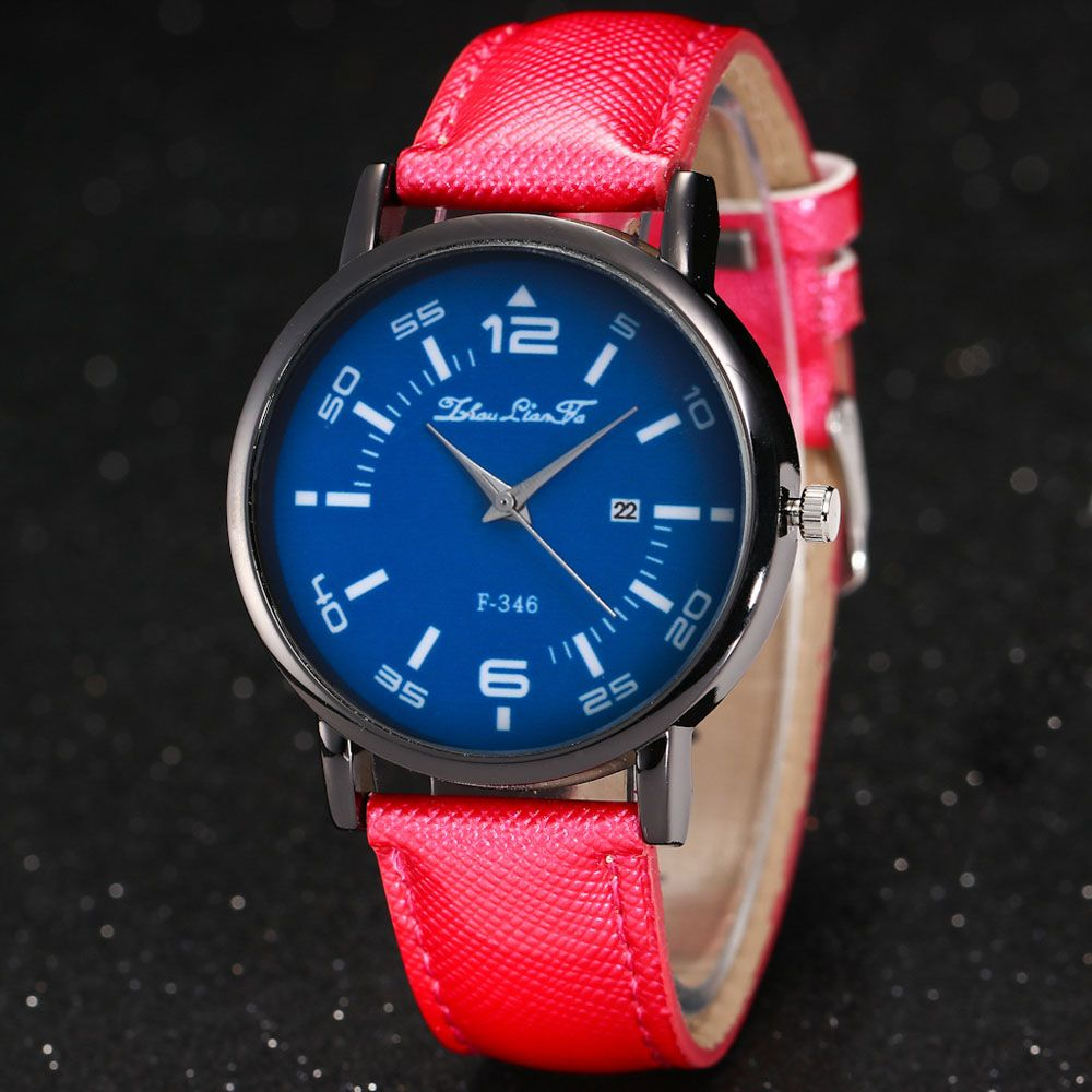 ZhouLianFa New Fashion Crystal Grain Leather Strap Ladies Business Quartz Watch