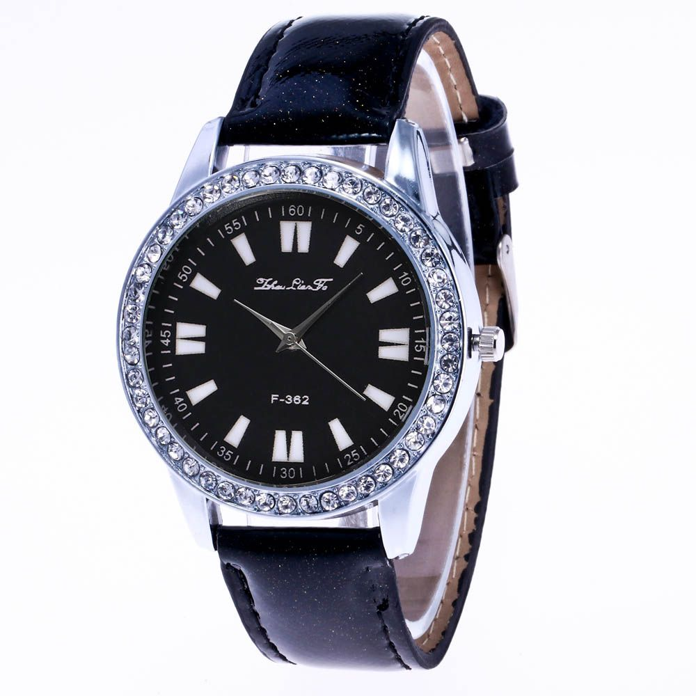 ZhouLianFa New Crystal Grain Leather Strap Silver Dial Diamond Ladies Leisure Quartz Watch with Gift Box