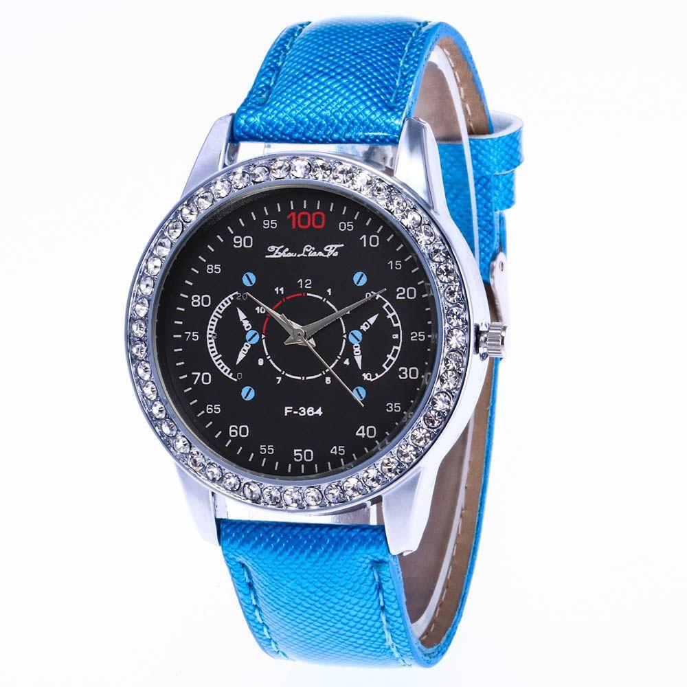 ZhouLianFa New Stylish Crystal Grain Leather Strap Silver Dial Diamond Ladies Business Quartz Watch with Gift Box