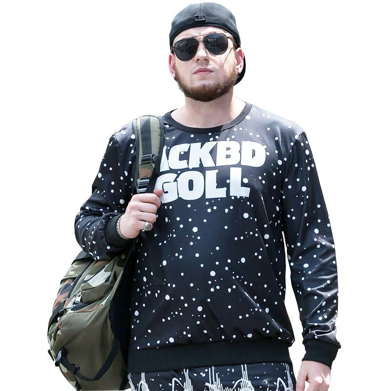 Large Size Autumn New Street Round Neck Print Letters Long Sleeves Hedging Men'S Sweatshirt PCW70046C
