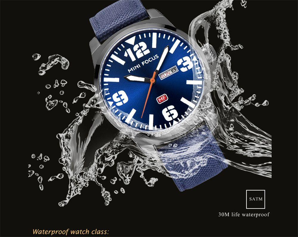 MINIFOCUSI MF0032G 1127 Fashion Trend Band Calendar Nylon Band Men Quartz Watch