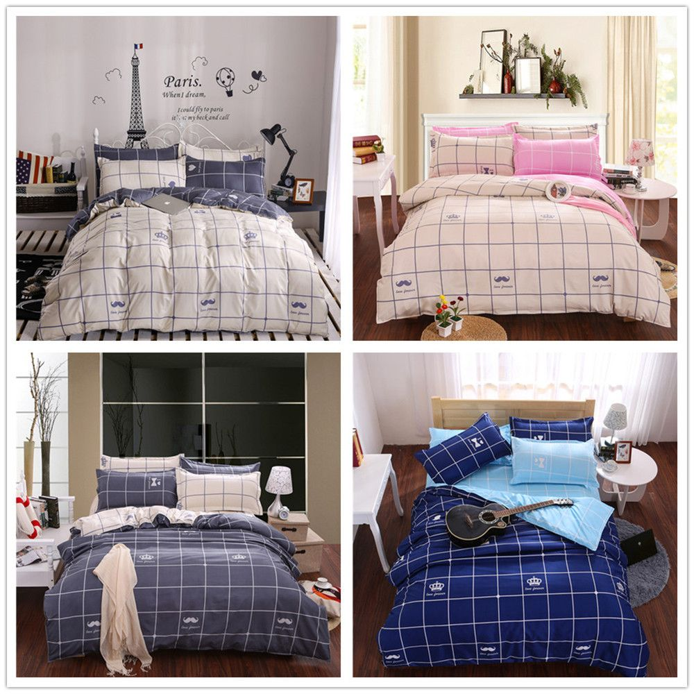 Aloe Vera Cotton Crown Two Colors Grid Three-Piece Bedding Sets