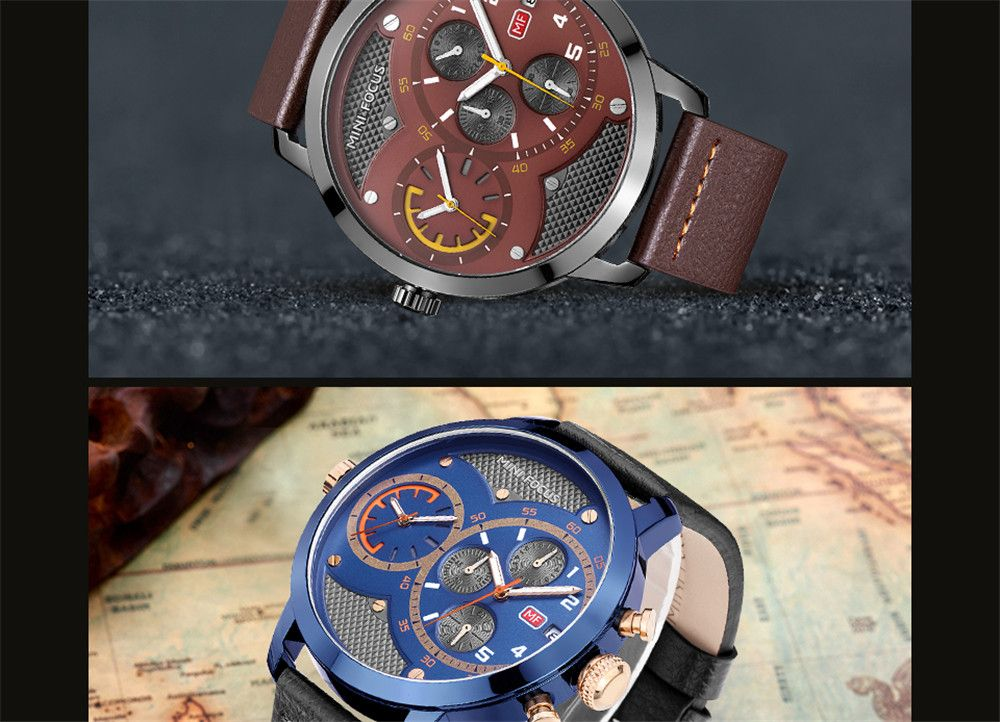 MINIFOCUSI MF0030G 1128 Fashion Trend with A Calendar Multipurpose Little Dial Belt Man Quartz Watch