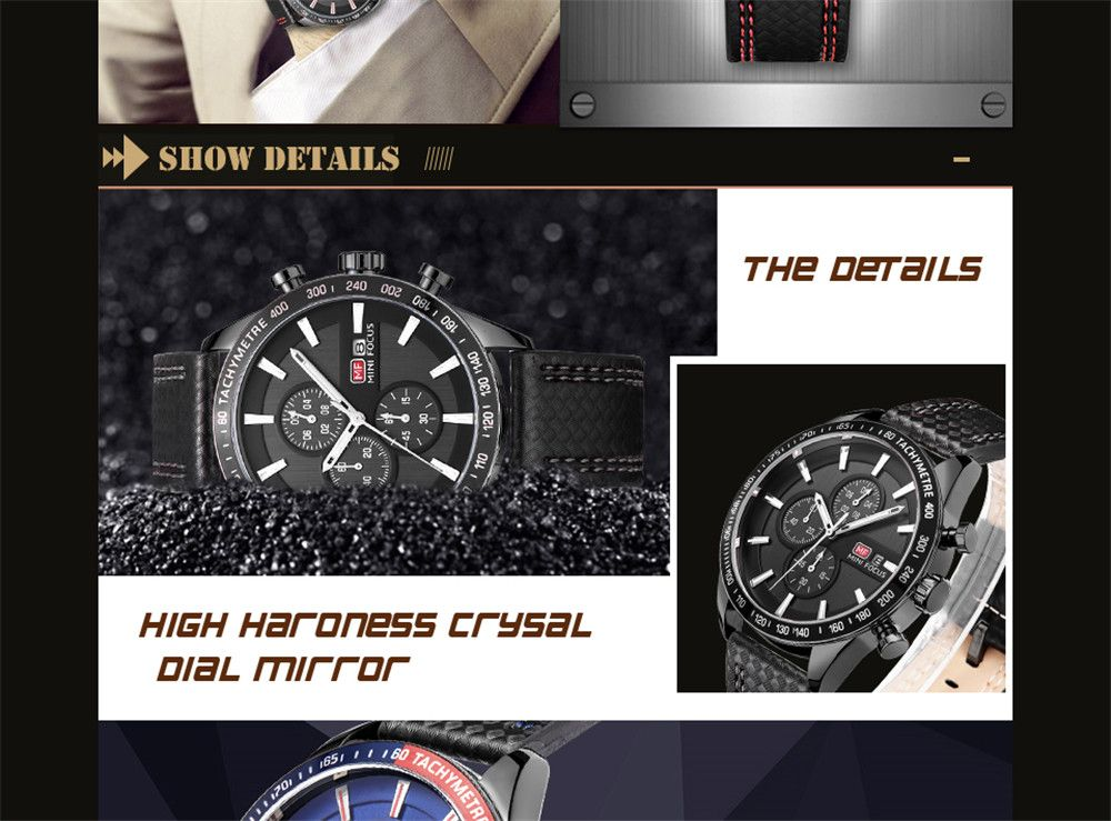 MINIFOCUSI MF0030G 1128 Business Casual Band Calender Belt Man Quartz Watch
