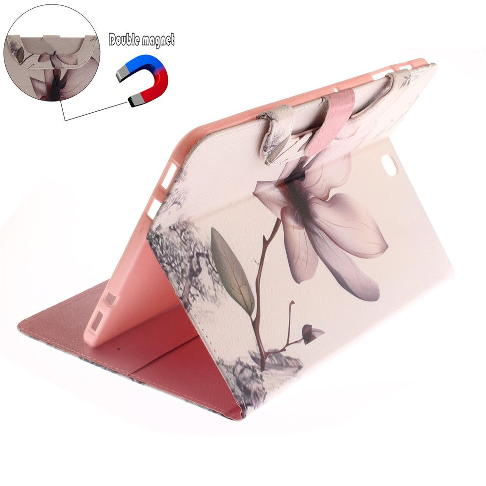 magnolia Leather Wallet Cover Design with Stand and Portable Card Slots Magnetic Closure Case for Samsung T815