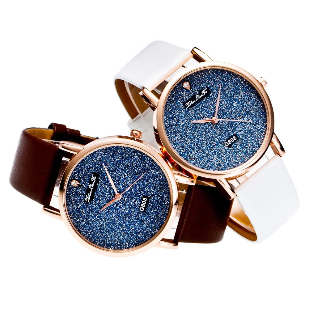 With A Gift Box Quartz Watch Creative Women'S Glossy Strap Simple Watch