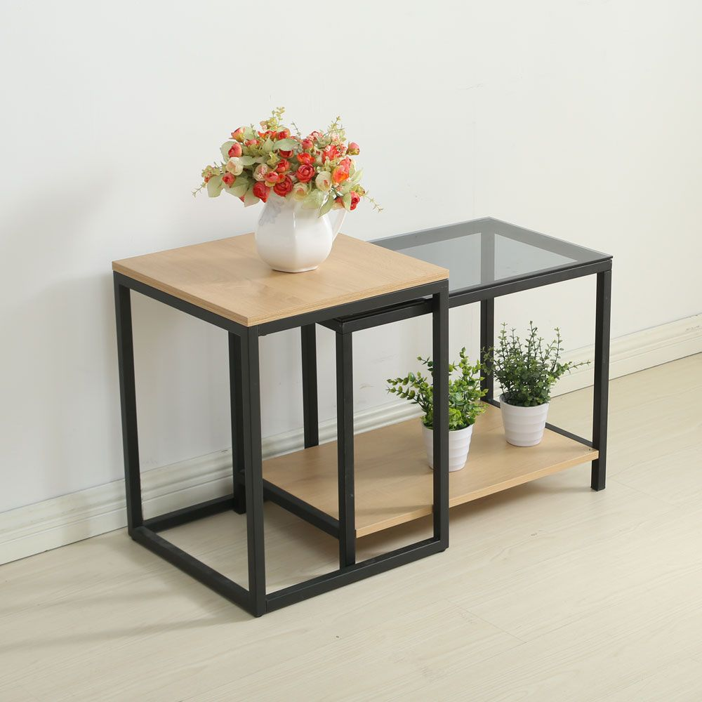 Nesting Table Set Sofa Side Table with End Table And Materials included Carbon Steel and Particleboard