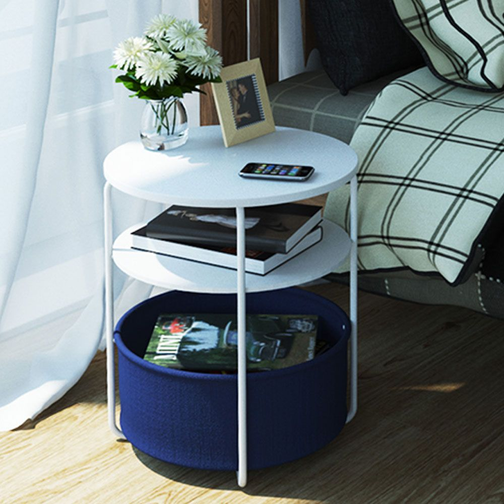 Round Wooden Side Table   3 Tiers With a Book Storage Canvas Basket Bag