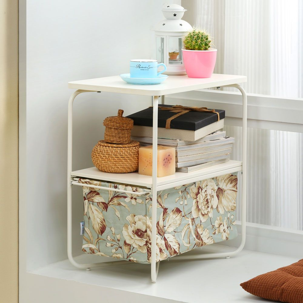 Rectangular Wooden Side Table   3 Tiers With a Book Storage Canvas Basket Bag